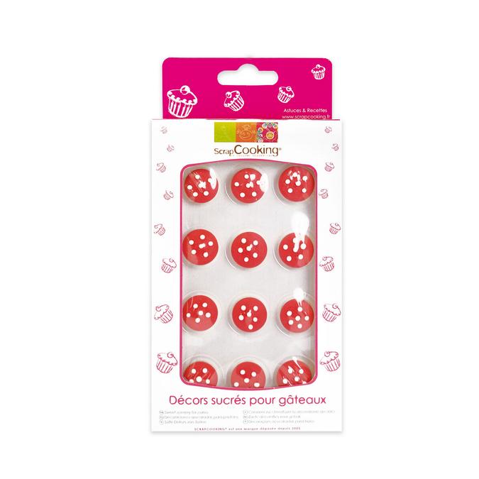 Pack de 12 décor sucré pour gâteau 1,5 cm petits champignons 3D