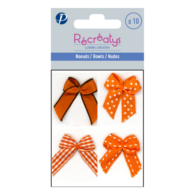 Sachet de 10 nœuds assortis 3 x 3 cm orange