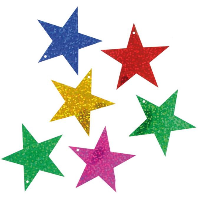 Sequins étoiles 5 cm métallisées couleurs assorties 35 g
