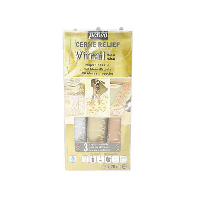 Peinture Vitrail Kit Découverte cerne relief METAL 3 x 20 ml