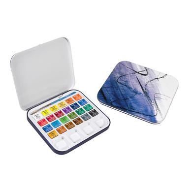 set de 24 demi godets d 39 aquarelle aquafine 1 pinceau et 1 palette daler rowney chez rougier pl. Black Bedroom Furniture Sets. Home Design Ideas