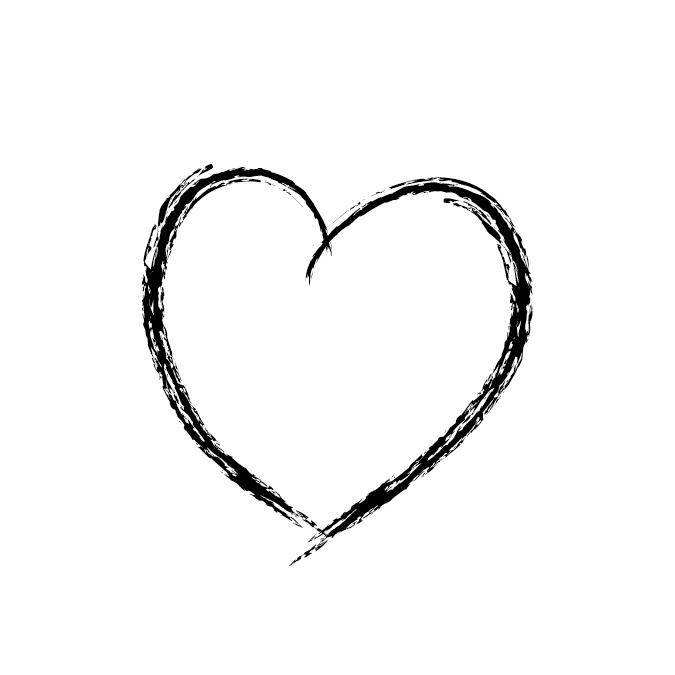 Tampon bois cœur dessiné