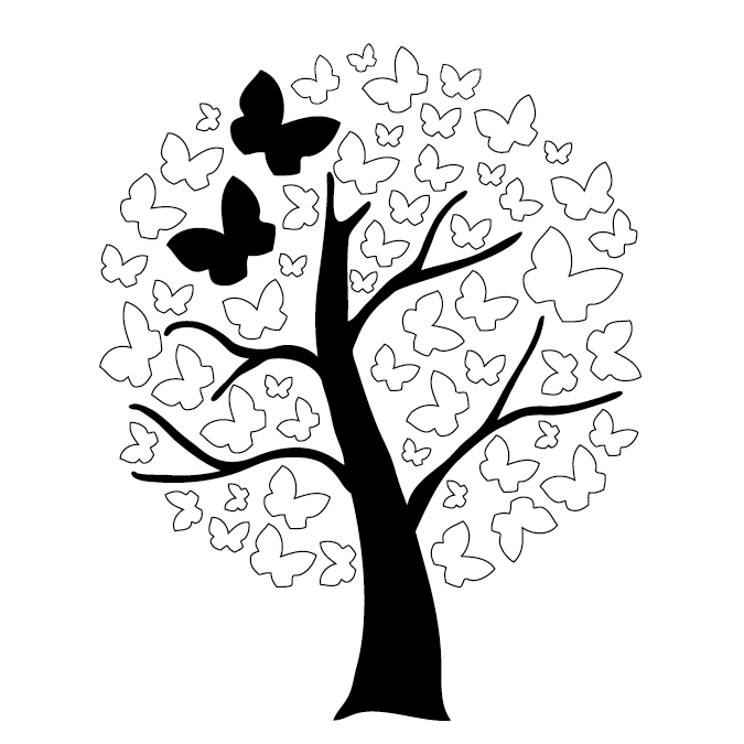 Tampon bois arbre aux papillons