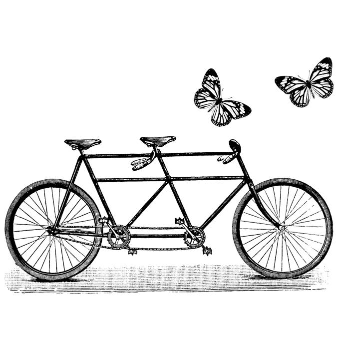 Tampon bois tandem et papillons