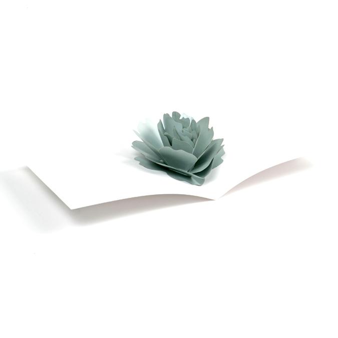 Rose 3D grise à monter en carte Pop Up