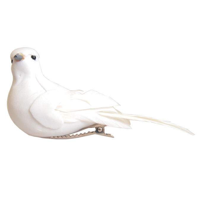 2 petits oiseaux blancs en plumes et résine