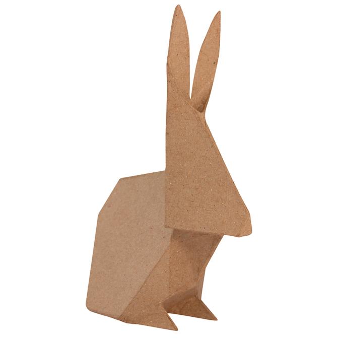 Lapin en papier mâché façon origami 25 cm