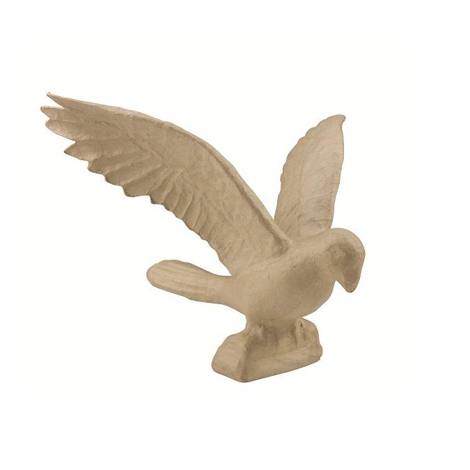 Perroquet en papier mâché ailes ouvertes 23 cm