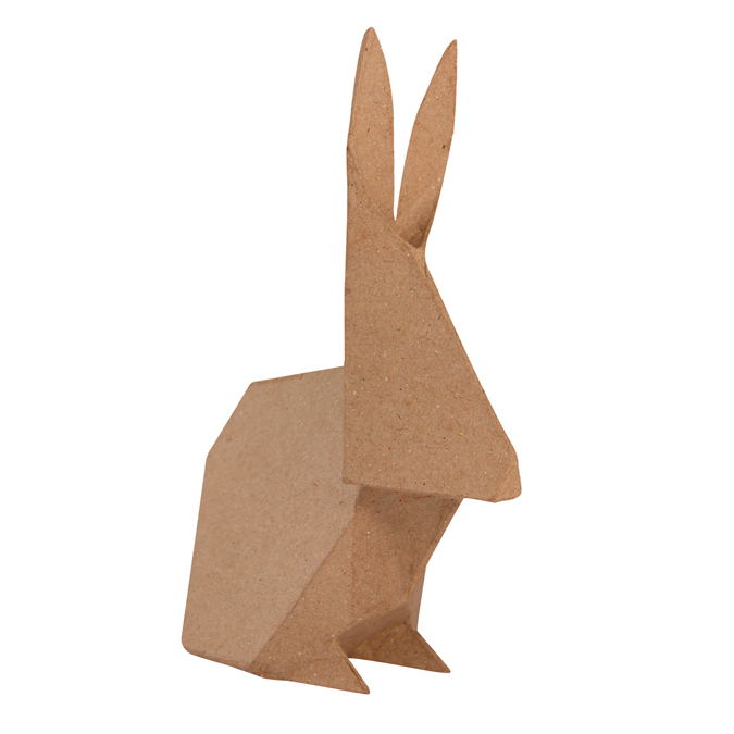 Lapin en papier mâché façon origami 19 cm