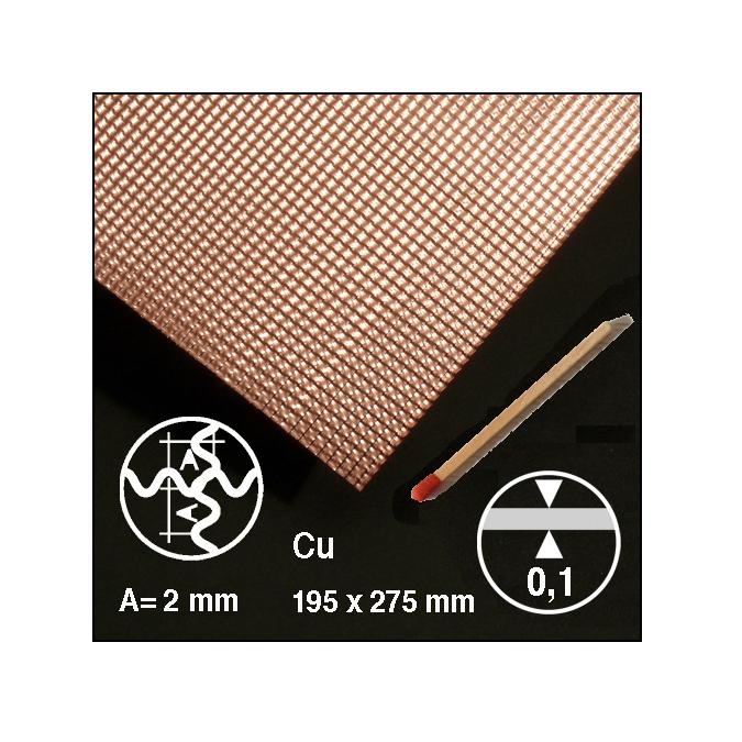 Tôle ondulée 2 sens en cuivre motif 2 mm