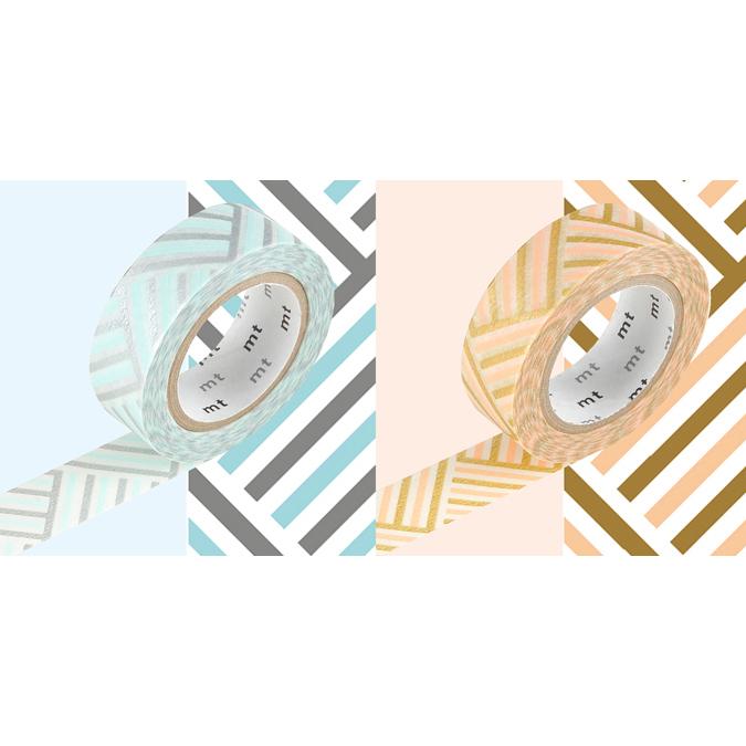 Masking tape effet tissé pêche et bleu lot de 2