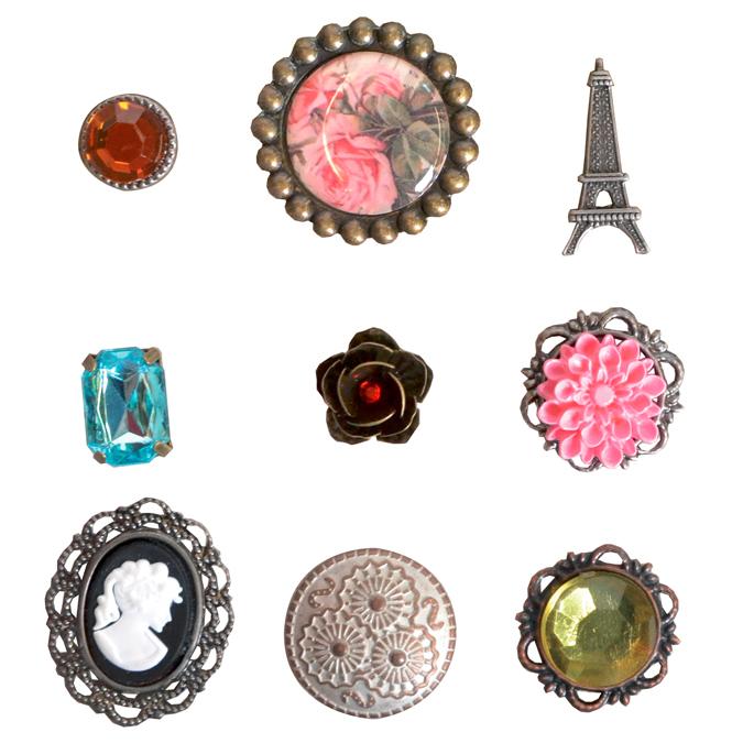 Attaches parisiennes vintage rose 9 pièces