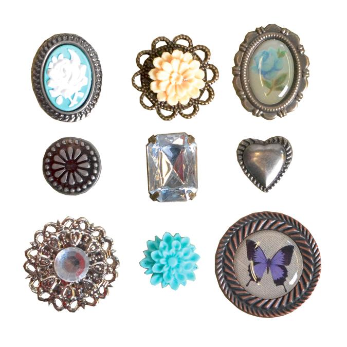 Attaches parisiennes vintage bleu 9 pièces