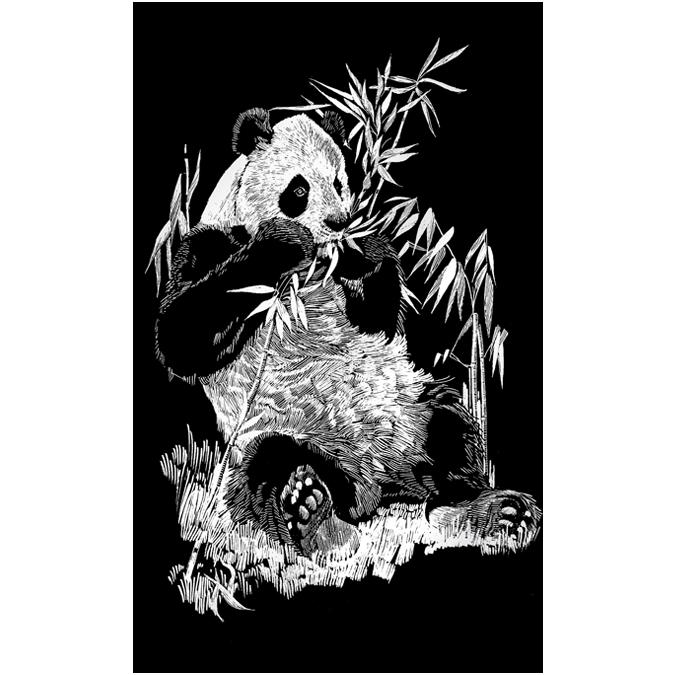 Carte à gratter argentée Panda