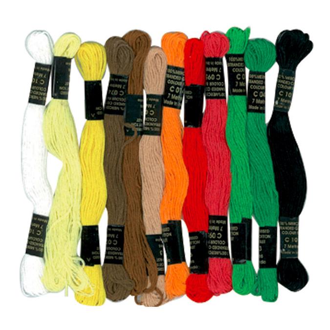 Fils de coton pour bracelets brésiliens 12 échevettes Ethnique
