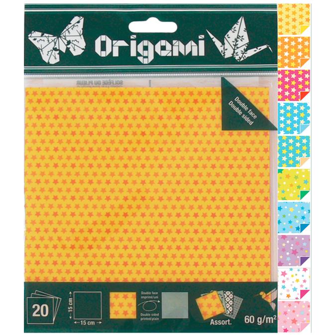 Papier origami Etoiles 15x15cm 20 feuilles