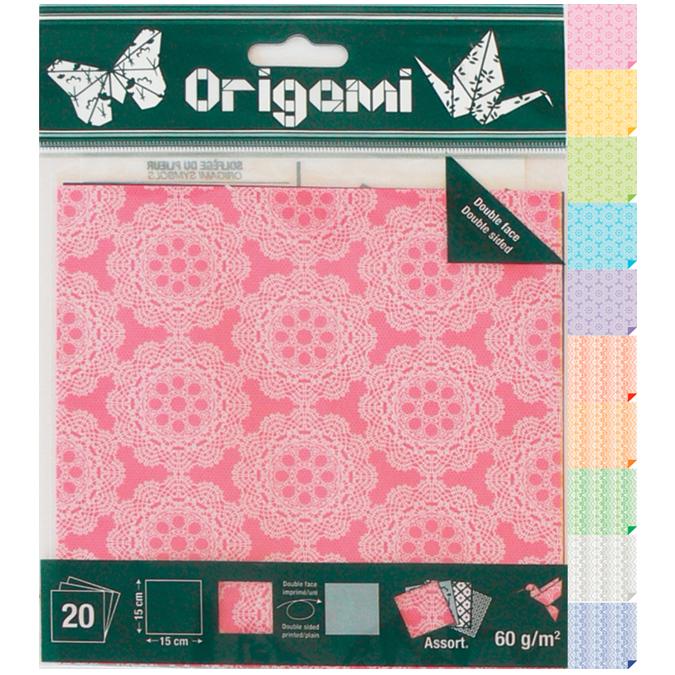 Papier origami Dentelle 15x15cm 20 feuilles
