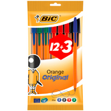 Assortiment de stylo-billes Orange 12 + 3 GRATUITS