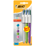 Lot de 3 stylo-billes 4 couleurs Shine