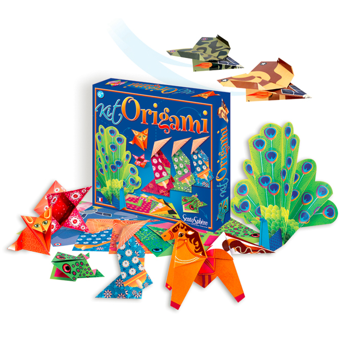 Coffret origami Papiers colorés et instructions de montage