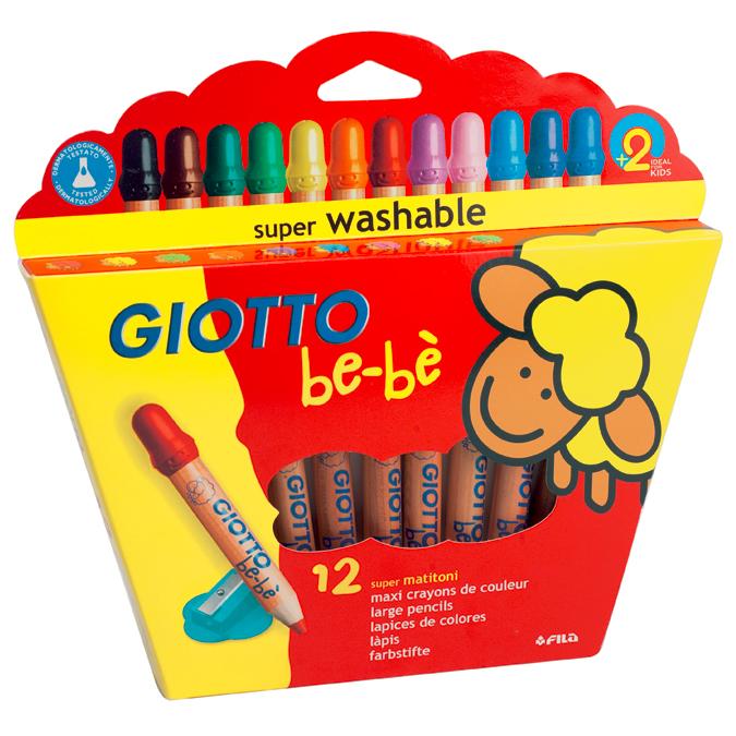 Crayons de couleur 1er âge pochette de 12 avec taille-crayon