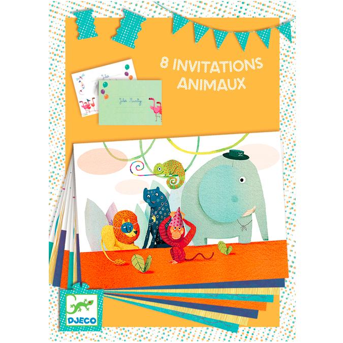 Coffret de création 8 invitations Animaux