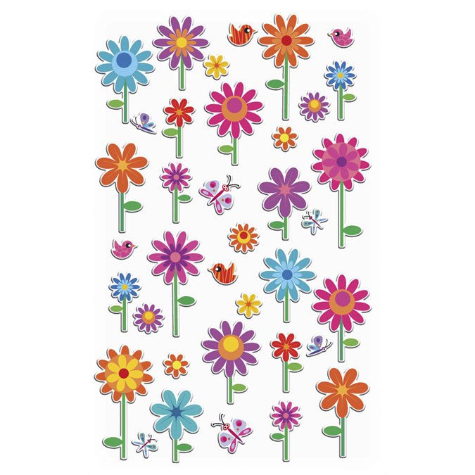 Autocollants relief Fleurs
