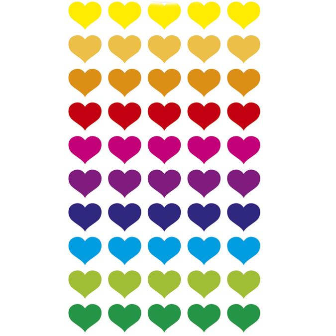 Autocollants relief Cœurs multicolores