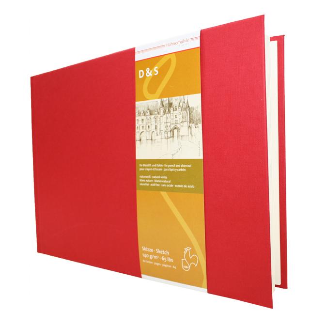 Livre à croquis format paysage couverture rouge 140g/m²