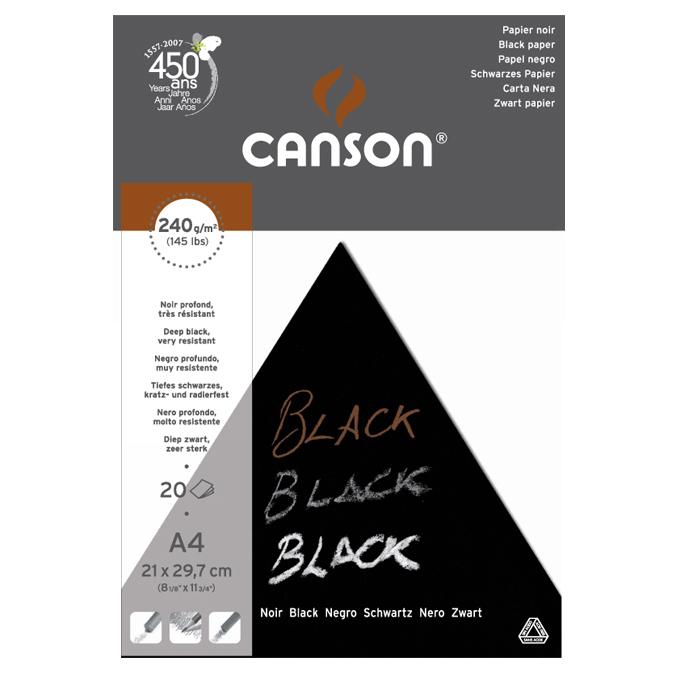 Bloc de papier noir A4 21 x 29,7 cm 250 g/m²