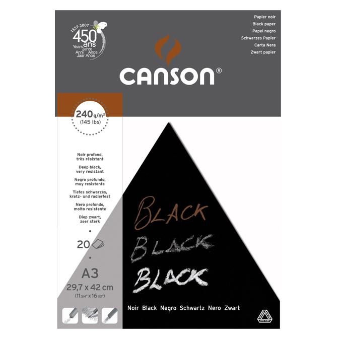 Bloc de papier noir A3 29,7 x 42 cm 250 g/m²