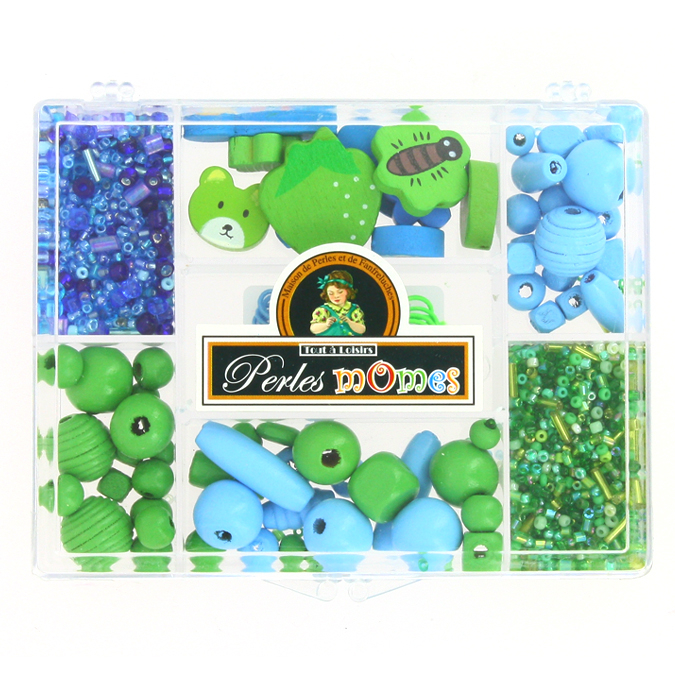 Kit de perles enfants et apprêts assortiment bleu-vert