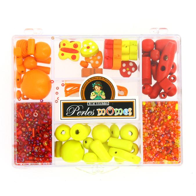Kit de perles enfants et apprêts assortiment jaune-orange