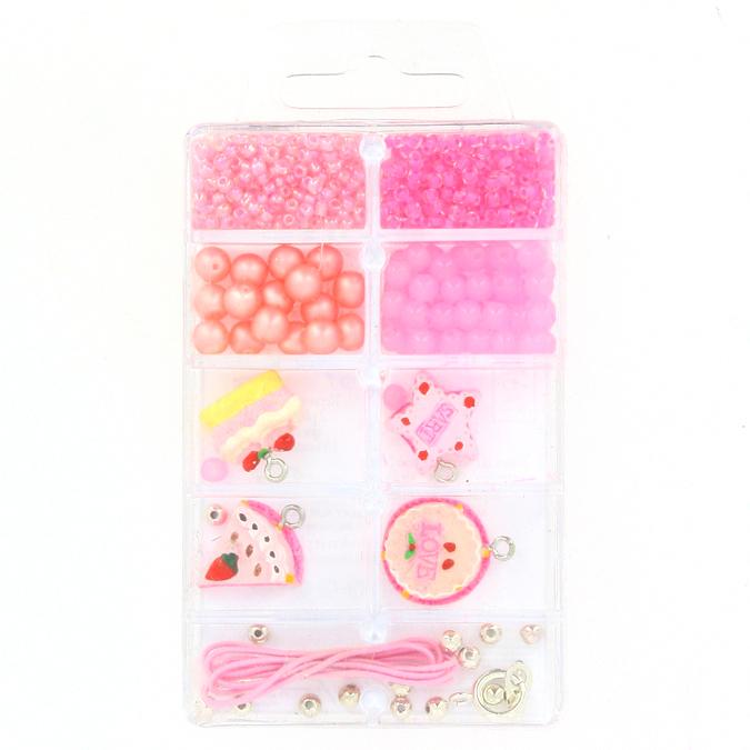 Kit de perles et breloques gourmandes fraise