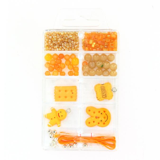 Kit de perles et breloques gourmandes praliné