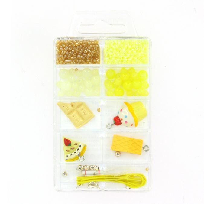 Kit de perles et breloques gourmandes vanille