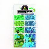 Kit de perles 11 cases assortiment bleu-vert