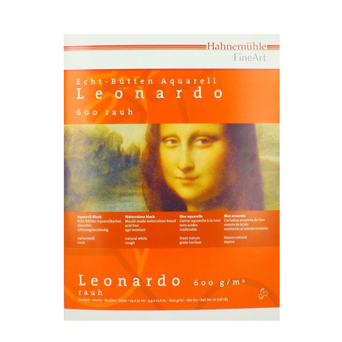 Bloc aquarelle Leonardo grain torchon 600 g/m²