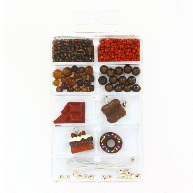 Kit de perles et breloques gourmandes chocolat