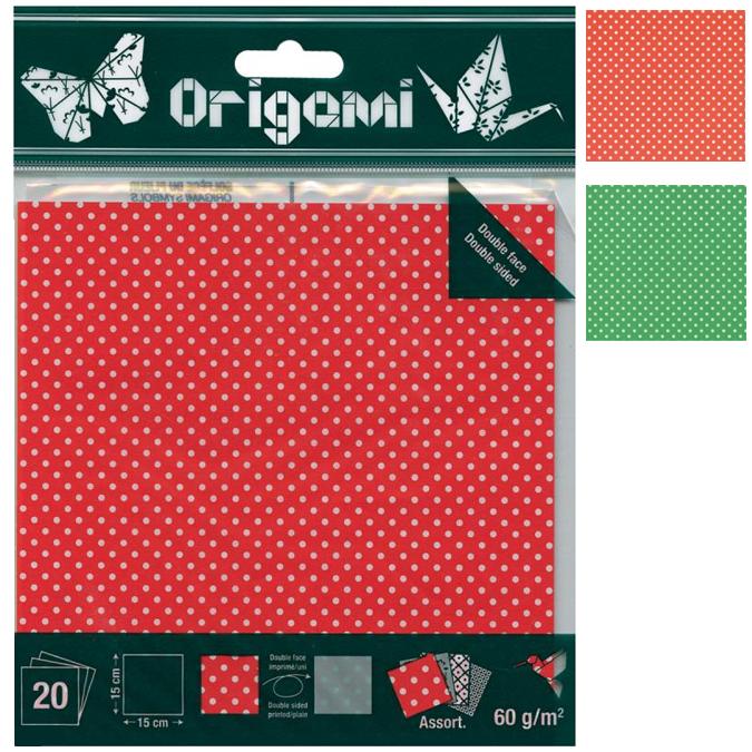Papier origami Pois 15x15cm 20 feuilles