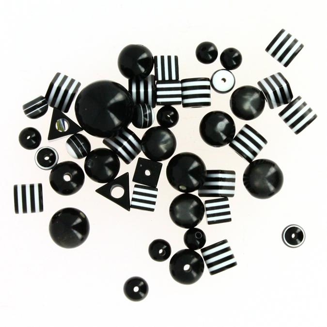 Perles bonbons réglisse noir et blanc