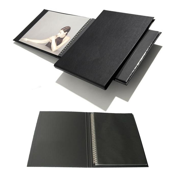 Press-book Modebook noir à l'italienne + 10 pochettes 21 x 30 cm