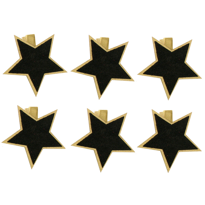 Pinces à linge 5 cm dorées avec étoile ardoise x 6