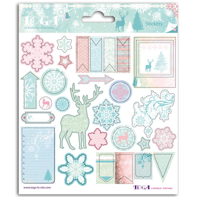 Stickers hiver poudré 15 x 15 cm
