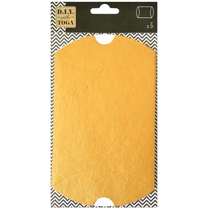 Boîtes oreiller dorées 11 x 19 cm par 5