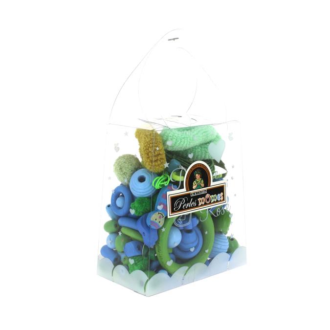 Sachet de perles enfants assortiment bleu-vert
