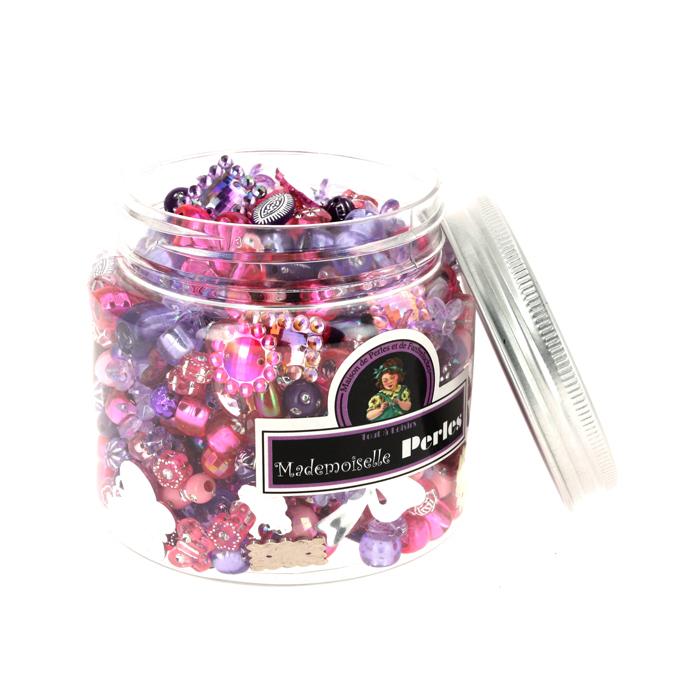 Bocal de perles assortiment rose-violet