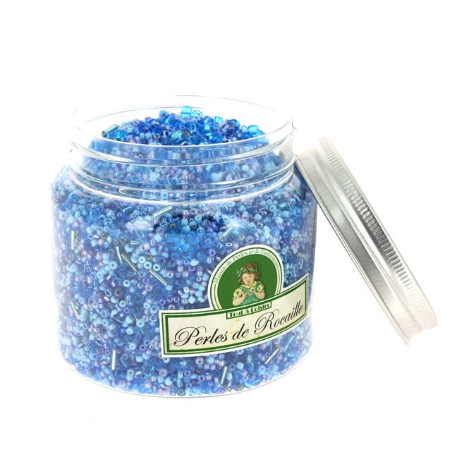 Perles de rocaille assorties bleu clair 400g