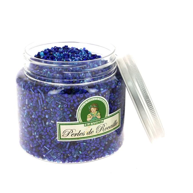 Perles de rocaille assorties bleu foncé 400g
