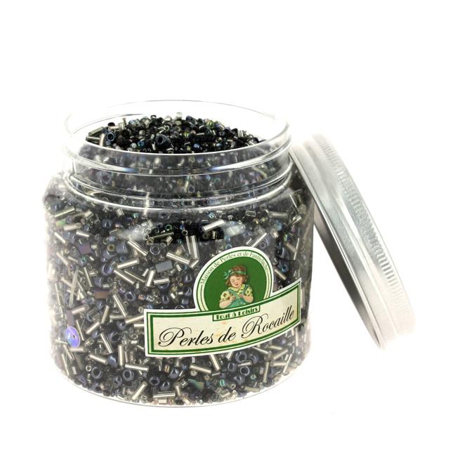 Perles de rocaille assorties noir 400g